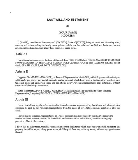 Last Will And Testament Sles And Templates Last Will Templates Free Printable