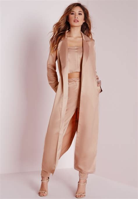 Maxi Ros Tosca lyst missguided satin belted maxi duster coat pink