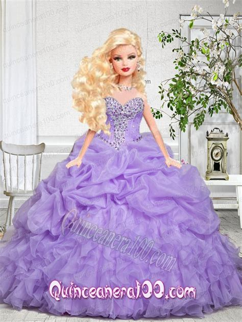 Ice Decorations Baby Pink Quinceanera Dress For Barbie Doll With Beading