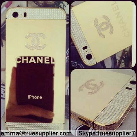 Chanel Gold For Iphone 4s Or Iphone 5s chanel crystals polished gold apple iphone 5s back housing cover wholesale iphone accessories