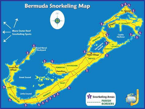 map of bermuda recommended bermuda snorkeling beaches boat tours