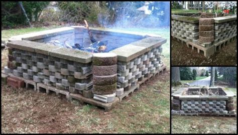 Build a fire pit from cement landscape blocks   DIY