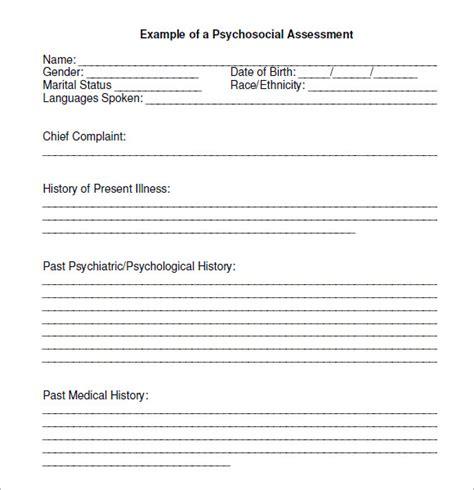 social work psychosocial assessment template psychosocial assessmentt 7 free sles exles
