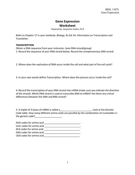 Gene Expression Worksheet by Gene Expression Worksheet Resultinfos