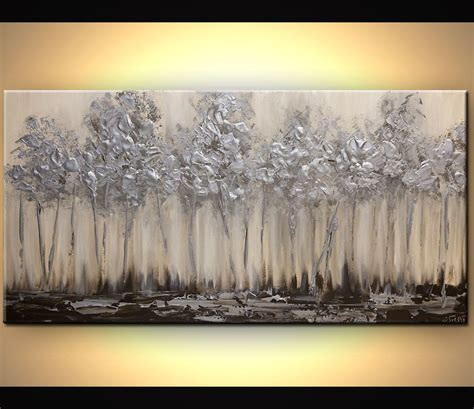 Bilder Leinwand Selber Machen 864 silver blooming trees abstract landscape painting arte