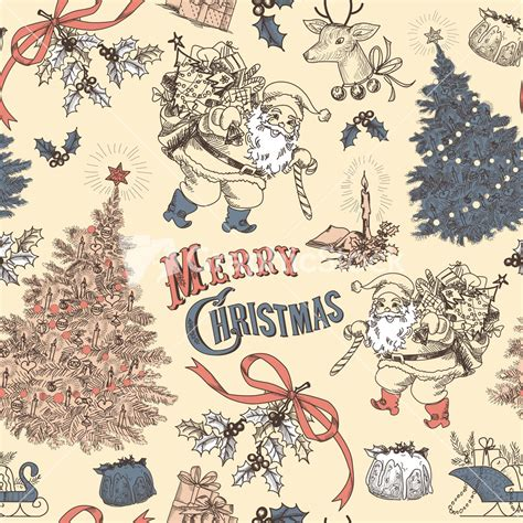 Vintage Holiday Pattern | vintage christmas seamless pattern