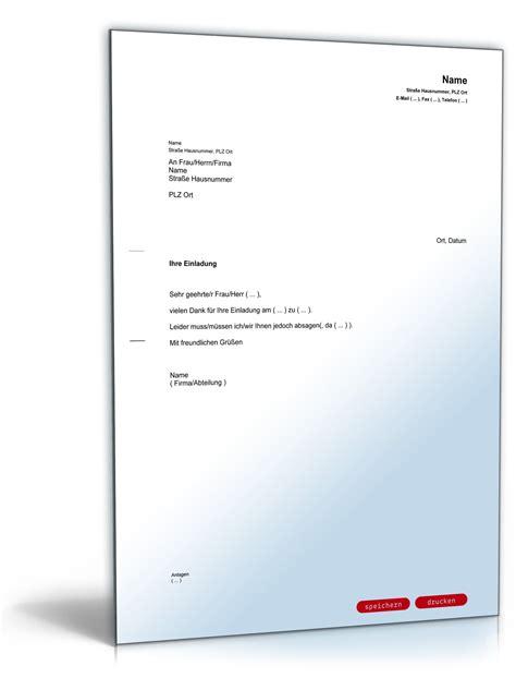Musterbrief Einladung Absagen Absage Einladung Vorlage Zum