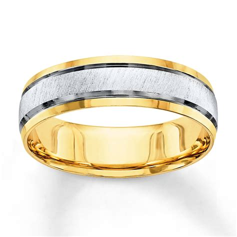 jared wedding band 10k two tone gold 6mm