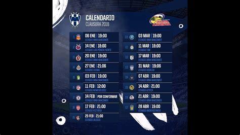 Calendario Liga Mx Monterrey Rayados Monterrey Calendario Oficial Clausura 2018