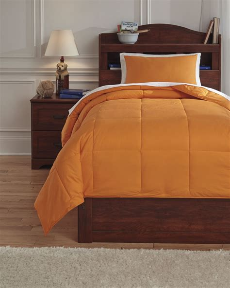 orange full size comforter plainfield orange full comforter set from ashley q759083f