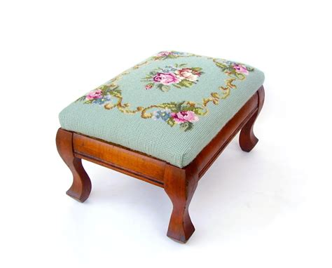 Vintage Foot Stool antique wood footstool vintage foot stool needlepoint