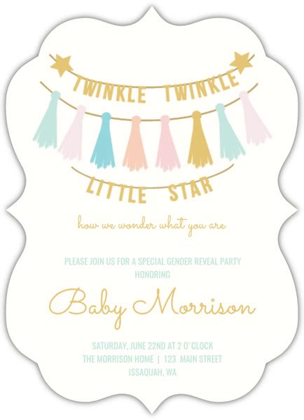 Baby Shower Gender Reveal Invitations by Twinkle Twinkle Baby Gender Reveal Invitation