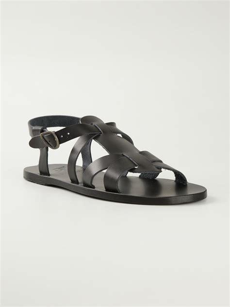 spartan sandals ancient sandals leonidas sandals in black for lyst