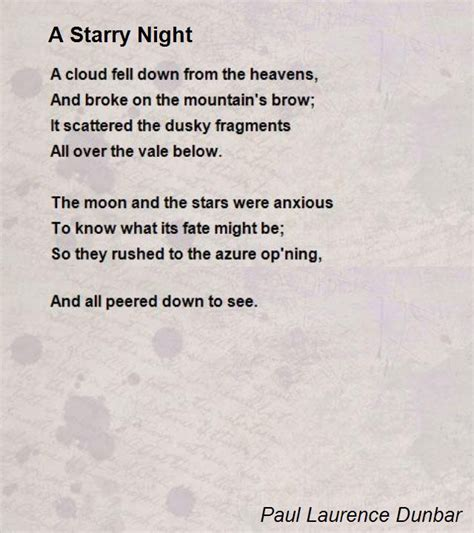this is a poem a starry night poem by paul laurence dunbar poem hunter