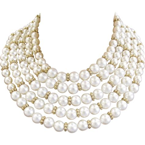 Faux Pearl Necklace marvella 5 strand white faux pearl necklace and bracelet