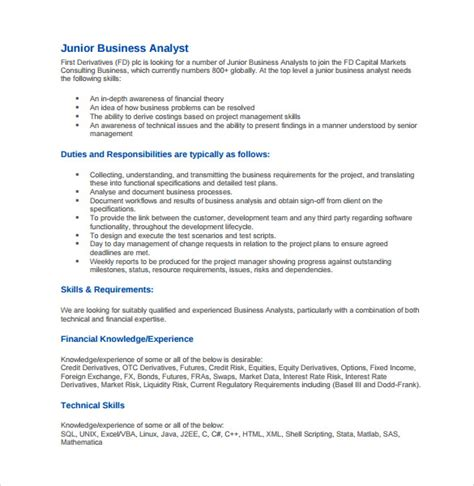 Business Analyst Resume Sles Pdf Business Analyst Resume 8 Free Documents In Pdf Word Sle Templates