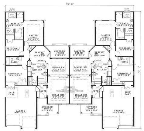 multi unit home plans multi unit house plan 153 1014 3 bedrm 1504 sq ft per