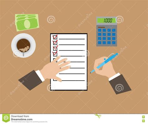 Fill Out Questionnaires For Money - hands completing the questionnaire stock vector image 72836302