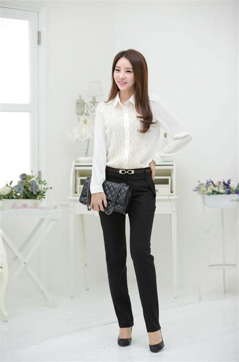 Baju Kerja Kemeja Blouse Wanita Korea Import Putih Biru White Pink kemeja wanita model renda modis model terbaru jual murah import kerja