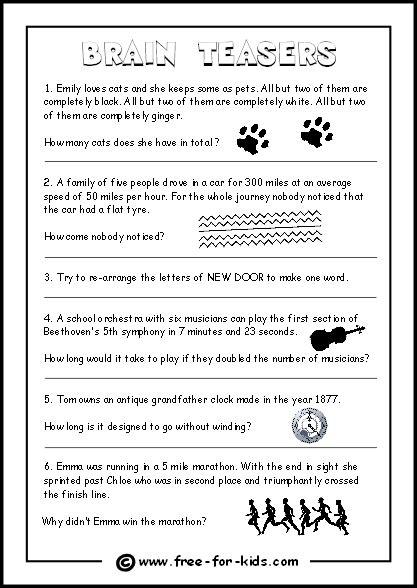printable riddle quiz brain teasers for kids worksheets lesupercoin printables