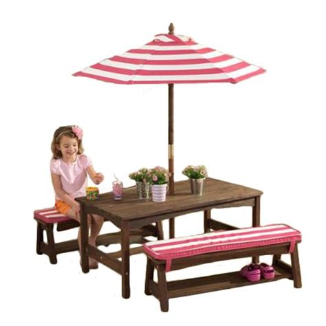 kidkraft patio furniture kidkraft table bench set pink white outdoor furniture
