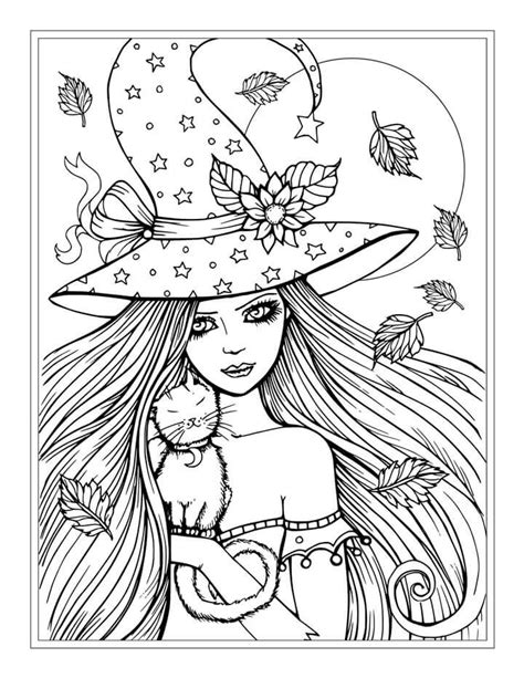 free witch coloring page free witch and cat halloween coloring page by molly