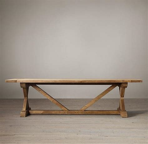 Restored Wood Dining Table Salvaged Wood X Base Extension Table I Restoration Hardware
