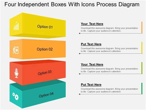 layout versus schematic ppt four independent boxes with icons process diagram flat
