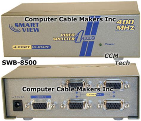 Avlink Vs 814pf 4 Port Vga Splitter 2048 X1 536 60hz 400mhz cables adapters smart view splitter 1 to 4 port vga duplicator was sold for