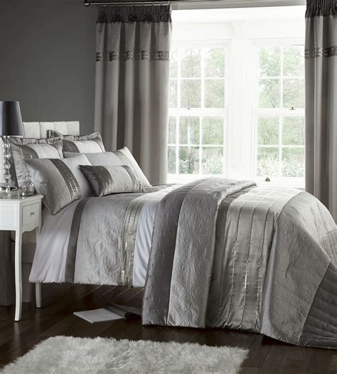 Grey Bedspread Silver Grey Luxury Duvet Quilt Cover Bedding Bed Set Or