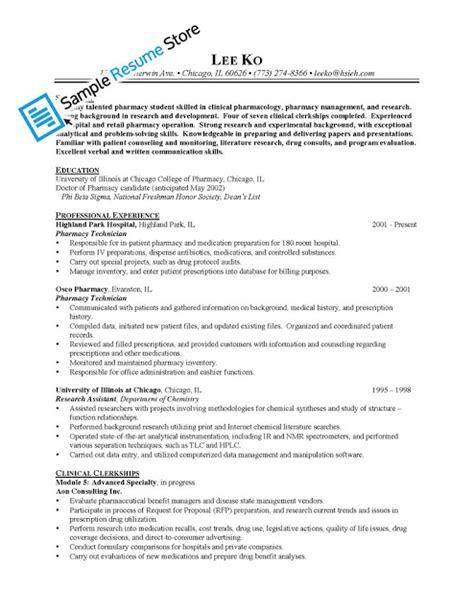 Pharmacy Technician Sample Resume by Sample Resume For Pharmacy Technician Sample Resumes