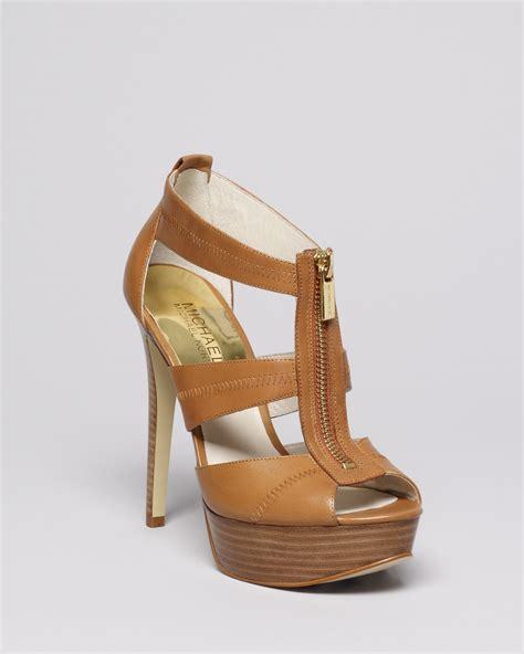 sandal high heels lyst michael michael kors peep toe platform sandals