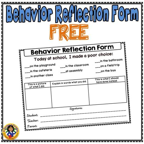 student behavior self reflection a simple behavior reflection form i use with my students