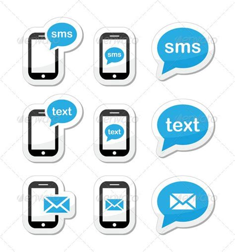 text sms mobile sms text message mail icons set as labels shape