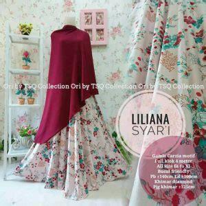 Liana Setelan Pink baju gamis liliana syar i motif bunga cantik busana muslim
