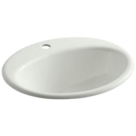 drop in oval bathroom sinks shop kohler farminton dune cast iron drop in oval bathroom
