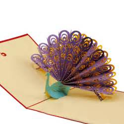 amazing cool 3d pop up cards custom greeting cards 3d peacock in for birthday personalised