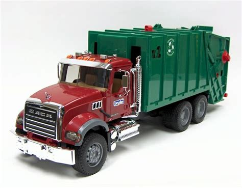 bruder garbage truck 1 16th bruder mack granite rear loading garbage truck toy