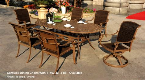 patio furniture aluminum wicker dining set 7pc cornwall