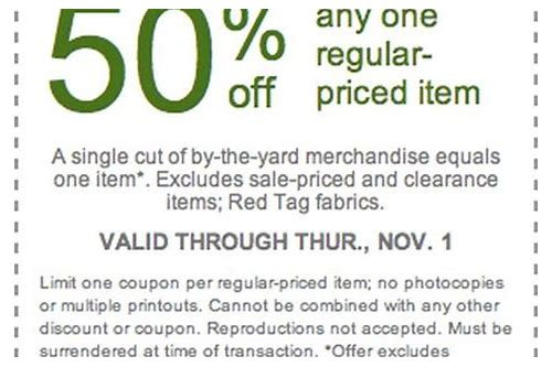 50 percent off coupon joann fabrics