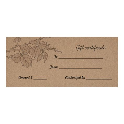 rustic brown kraft paper leaves gift certificate rack card