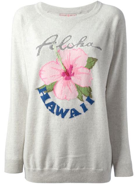 New Sweater Haloha lyst queene and aloha hawaii printed sweater in
