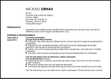 Resume Samples Restaurant by Cv Carrossier Automobile Exemple Cv Carrossier