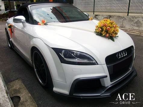 peach car audi tts roadster wedding car decorations