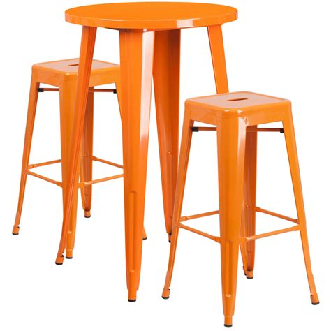 metal bar table set 24 orange metal indoor outdoor bar table set with