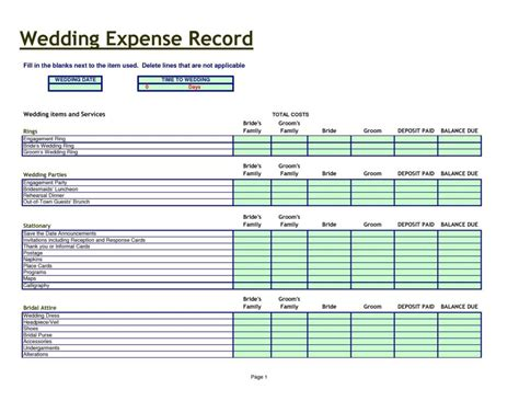 wedding budget spreadsheet wedding spreadsheet templates wedding