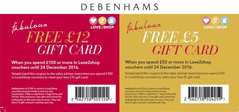 printable vouchers to use in store free 163 5 or 163 12 gift card at debenhams love2shop offers