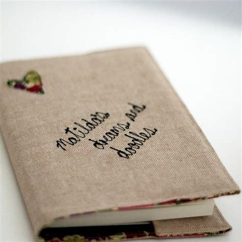 personalised linen and liberty print notebook by handmade