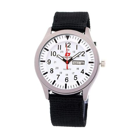 0234a0r Jam Tangan Putih Hitam jual swiss army 7826 kanvas jam tangan pria