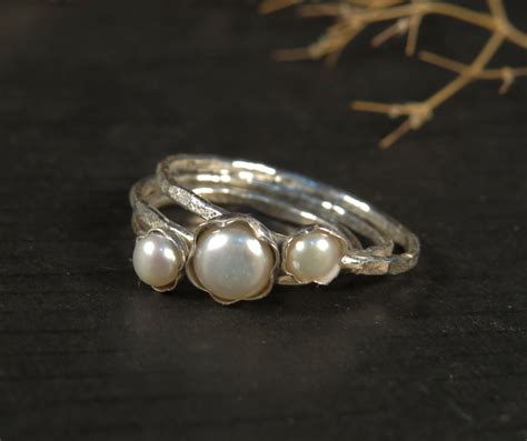 pearl engagement rings set of 3 stacking rings by